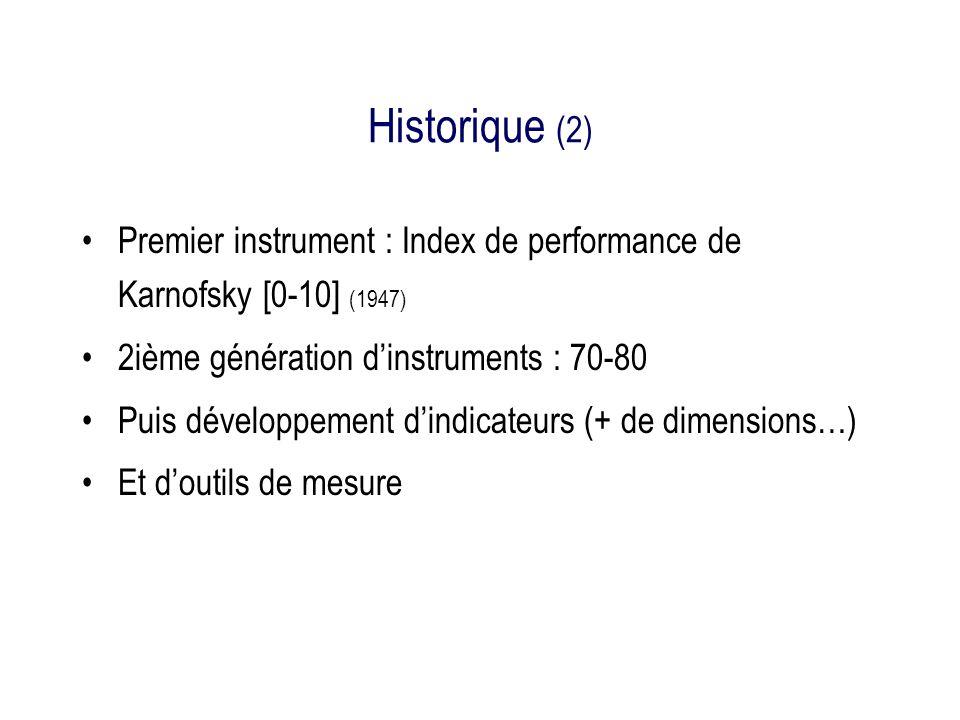 Historique (2) Premier instrument : Index de performance de Karnofsky [0-10] (1947) 2ième génération d'instruments : 70-80.